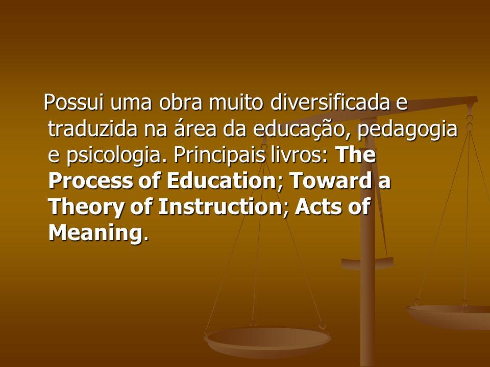 Possui uma obra muito diversificada e traduzida na área da educação, pedagogia e psicologia. Principais livros: The Process of Education; Toward a The