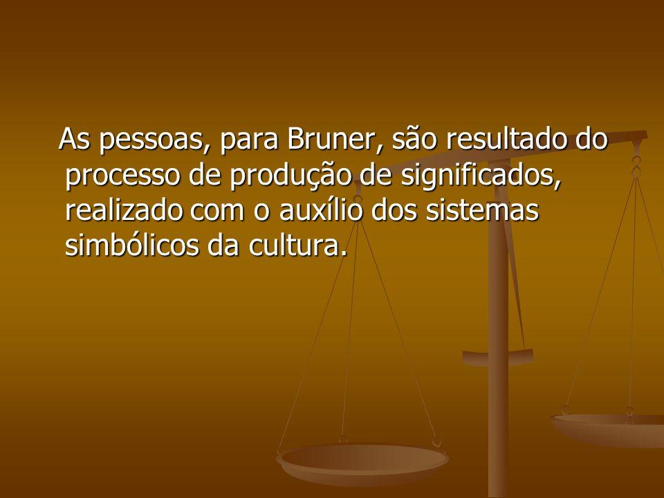 As pessoas, para Bruner, são resultado do processo de produção de significados, realizado com o auxílio dos sistemas simbólicos da cultura. As pessoas