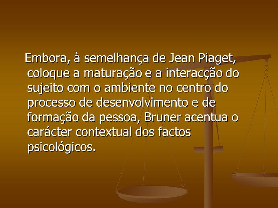 Embora, à semelhança de Jean Piaget, coloque a maturação e a interacção do sujeito com o ambiente no centro do processo de desenvolvimento e de formaç