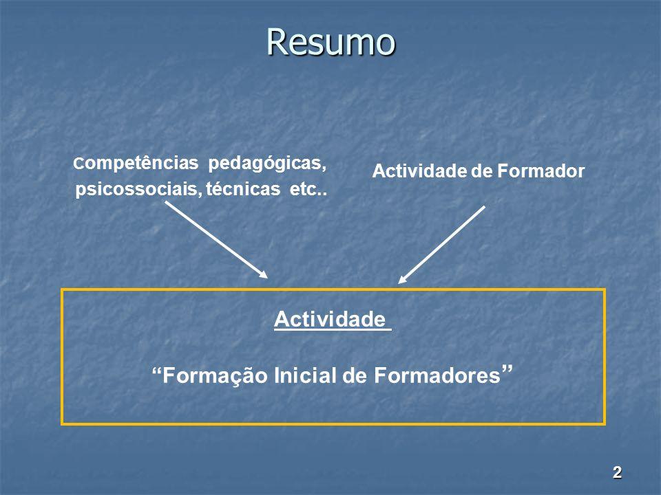 Resumo C ompetências pedagógicas, psicossociais, técnicas etc.. Actividade de Formador Actividade Formação Inicial de Formadores 2