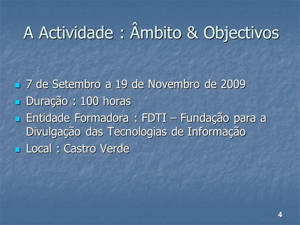 A Actividade : Âmbito & Objectivos 7 de Setembro a 19 de Novembro de 2009 7 de Setembro a 19 de Novembro de 2009 Duração : 100 horas Duração : 100 hor