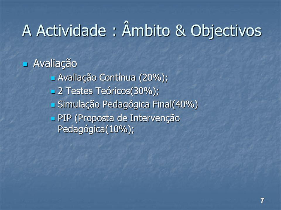 A Actividade : Âmbito & Objectivos Avaliação Avaliação Avaliação Contínua (20%); Avaliação Contínua (20%); 2 Testes Teóricos(30%); 2 Testes Teóricos(3