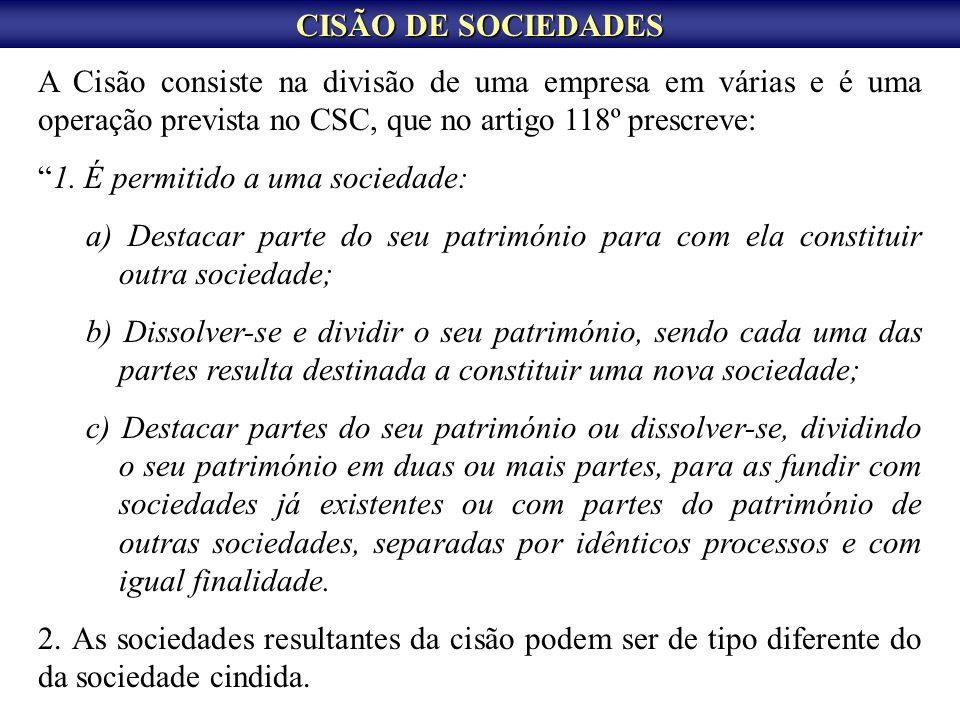 CISÃO DE SOCIEDADES A Cisão consiste na divisão de uma empresa em várias e é uma operação prevista no CSC, que no artigo 118º prescreve: 1. É permitid