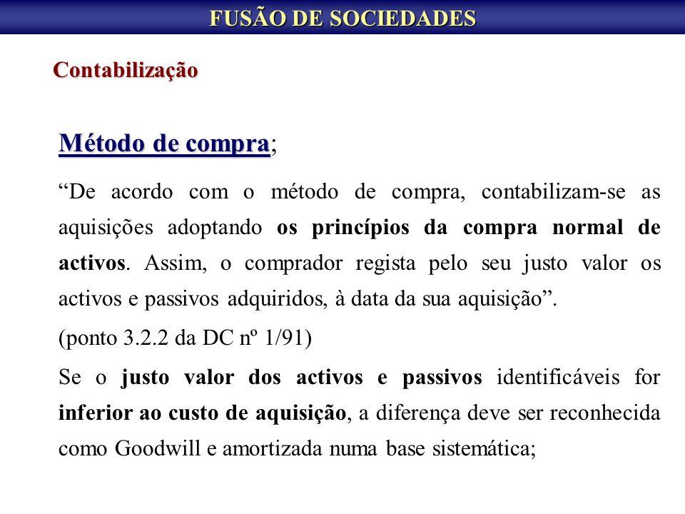 FUSÃO DE SOCIEDADES Fusão por constituição de nova sociedade Em termos contabilísticos temos: