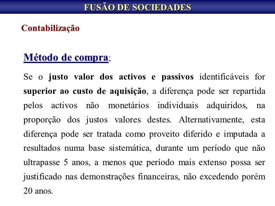 FUSÃO DE SOCIEDADES Contabilização Método de compra Método de compra ; Se o justo valor dos activos e passivos identificáveis for superior ao custo de