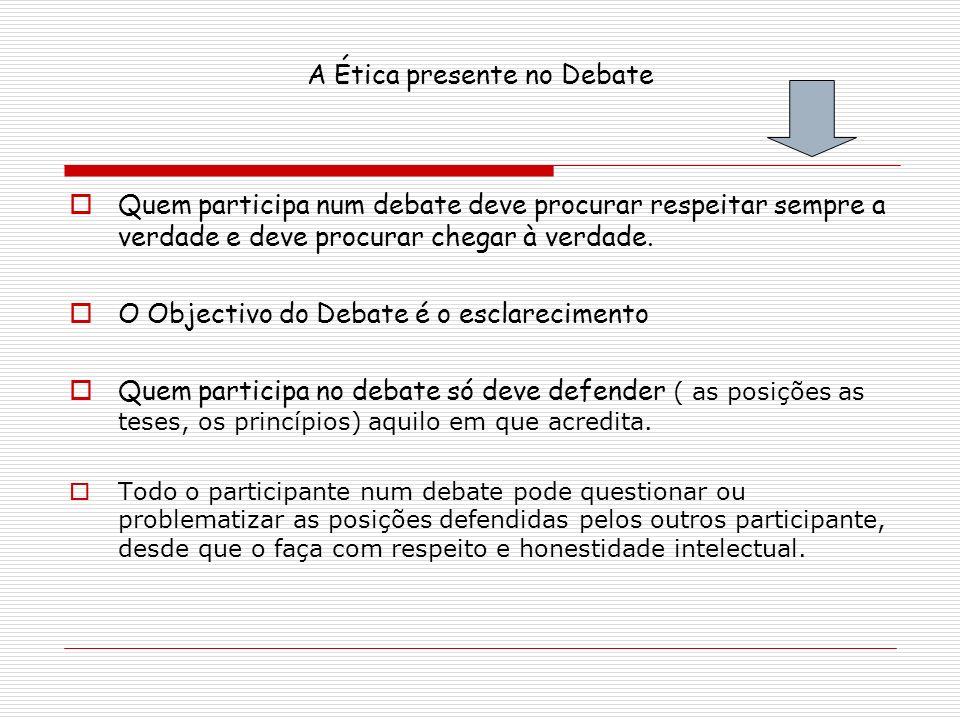 A Ética presente no Debate Quem participa num debate deve procurar respeitar sempre a verdade e deve procurar chegar à verdade. O Objectivo do Debate