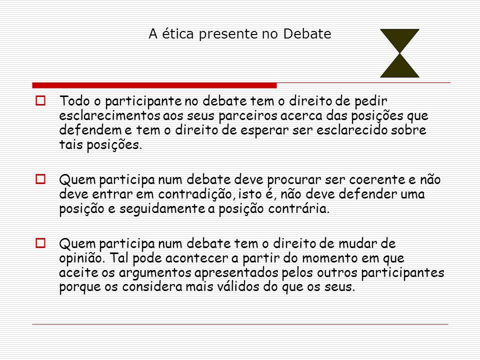 A ética presente no Debate Todo o participante no debate tem o direito de pedir esclarecimentos aos seus parceiros acerca das posições que defendem e