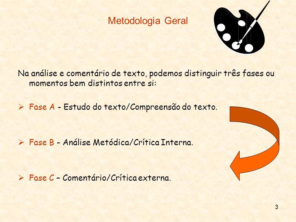 3 Metodologia Geral Na análise e comentário de texto, podemos distinguir três fases ou momentos bem distintos entre si: Fase A - Estudo do texto/Compr