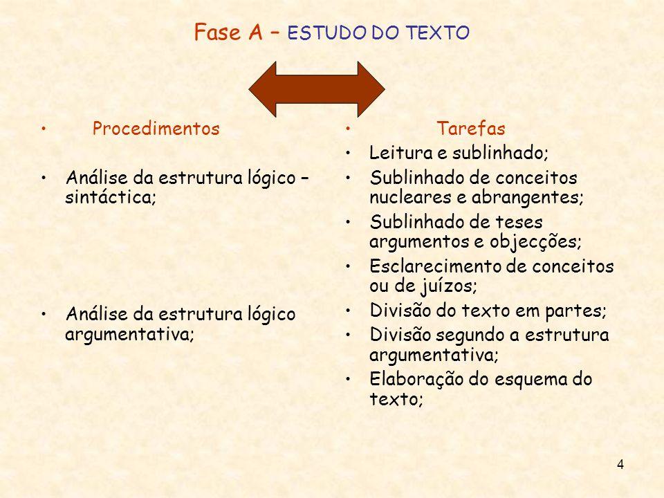 4 Fase A – ESTUDO DO TEXTO Procedimentos Análise da estrutura lógico – sintáctica; Análise da estrutura lógico argumentativa; Tarefas Leitura e sublin