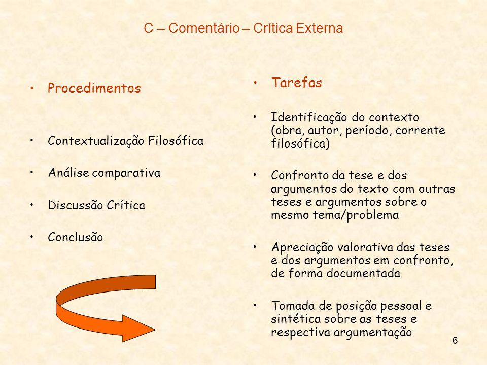 6 C – Comentário – Crítica Externa Procedimentos Contextualização Filosófica Análise comparativa Discussão Crítica Conclusão Tarefas Identificação do