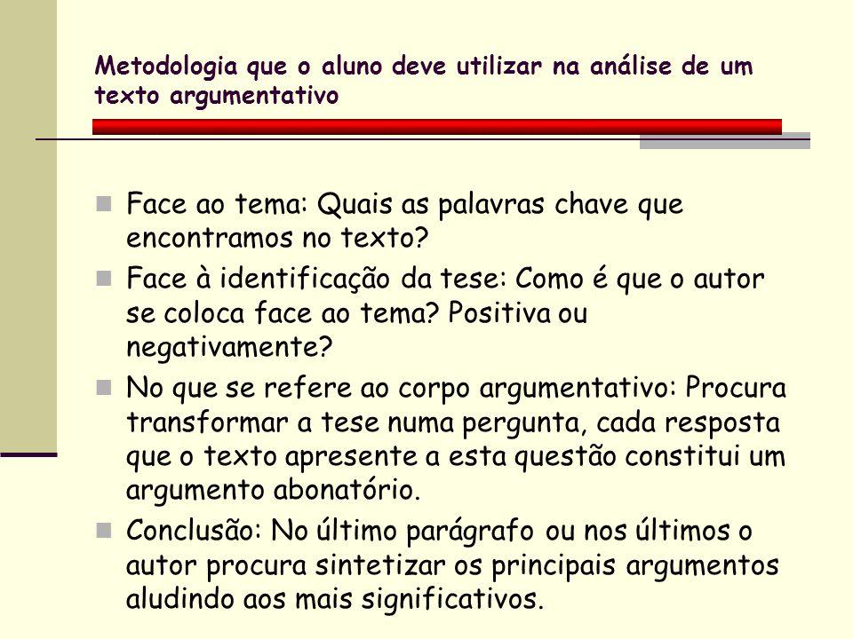 Metodologia que o aluno deve utilizar na análise de um texto argumentativo Face ao tema: Quais as palavras chave que encontramos no texto? Face à iden