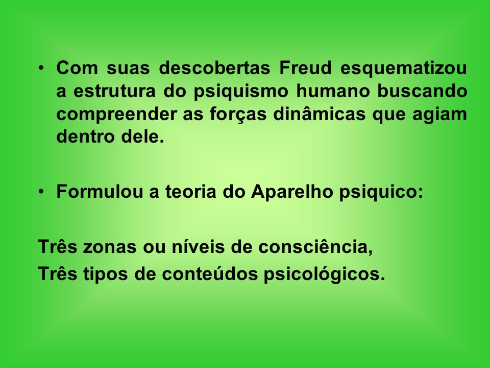 Com suas descobertas Freud esquematizou a estrutura do psiquismo humano buscando compreender as forças dinâmicas que agiam dentro dele. Formulou a teo