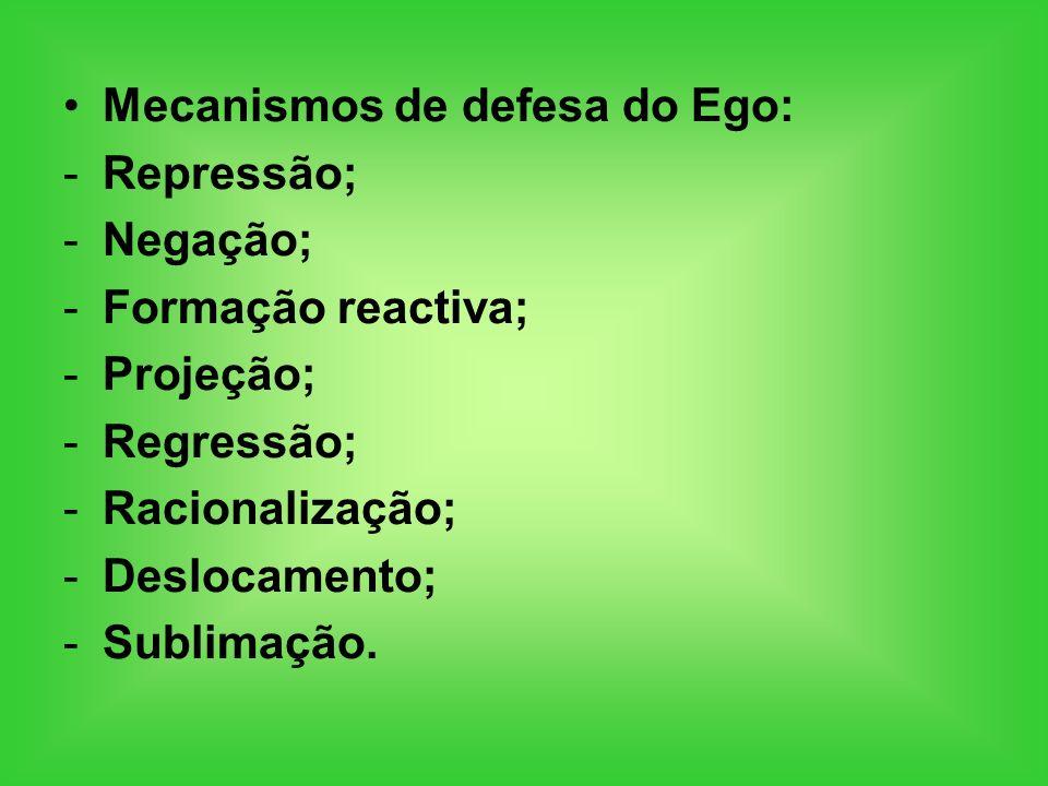 Mecanismos de defesa do Ego: -Repressão; -Negação; -Formação reactiva; -Projeção; -Regressão; -Racionalização; -Deslocamento; -Sublimação.