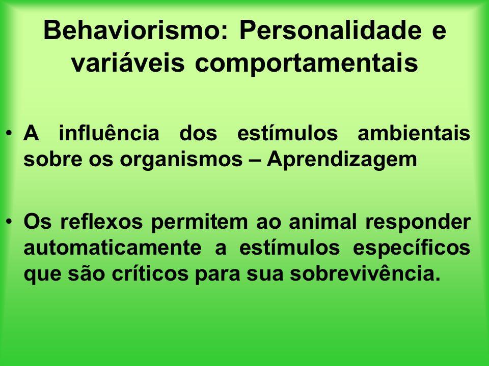 Behaviorismo: Personalidade e variáveis comportamentais A influência dos estímulos ambientais sobre os organismos – Aprendizagem Os reflexos permitem