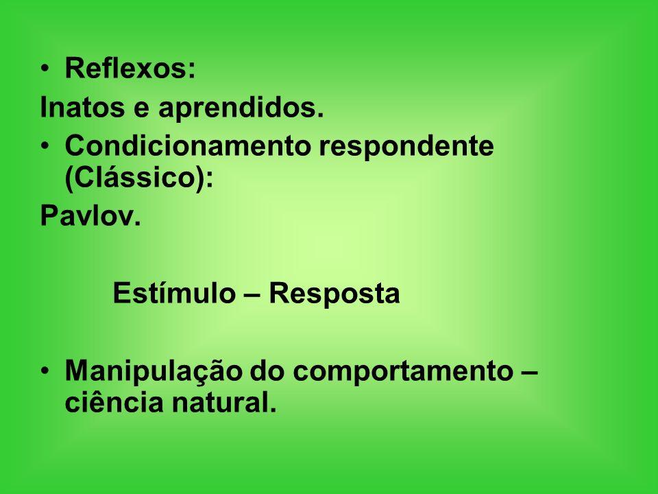 Reflexos: Inatos e aprendidos. Condicionamento respondente (Clássico): Pavlov. Estímulo – Resposta Manipulação do comportamento – ciência natural.