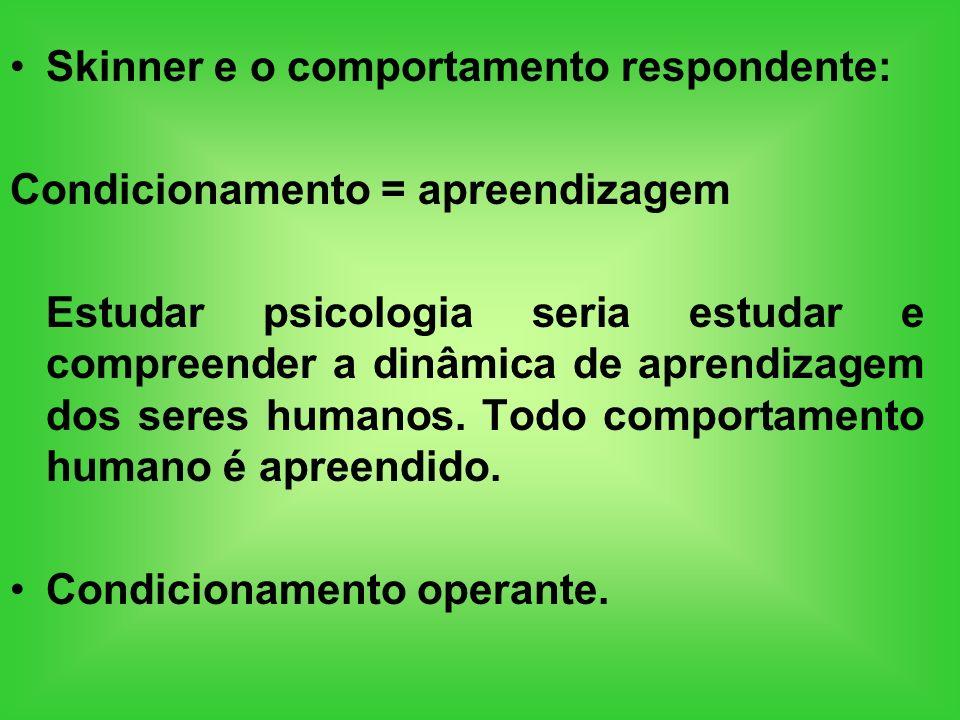 Skinner e o comportamento respondente: Condicionamento = apreendizagem Estudar psicologia seria estudar e compreender a dinâmica de aprendizagem dos s
