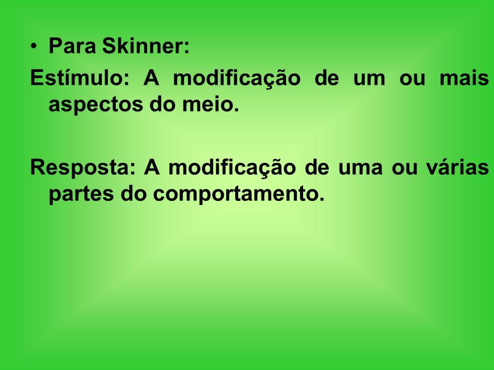 Para Skinner: Estímulo: A modificação de um ou mais aspectos do meio. Resposta: A modificação de uma ou várias partes do comportamento.