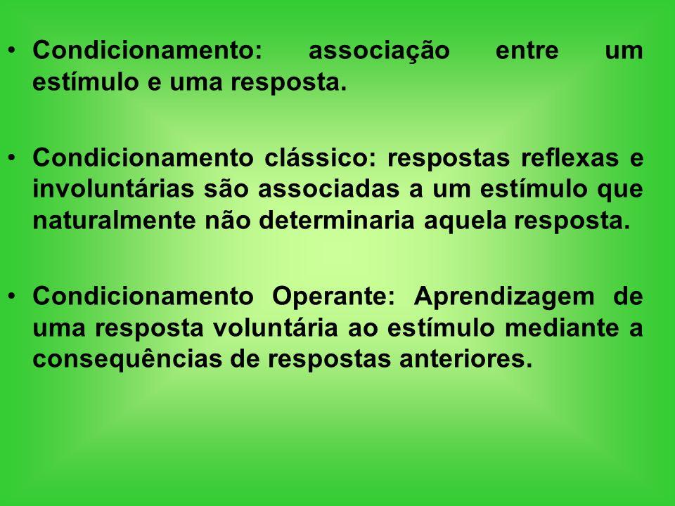 Condicionamento: associação entre um estímulo e uma resposta. Condicionamento clássico: respostas reflexas e involuntárias são associadas a um estímul