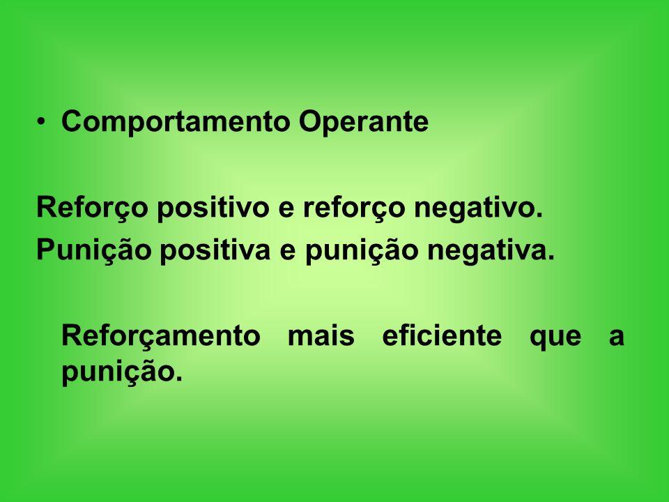 Comportamento Operante Reforço positivo e reforço negativo. Punição positiva e punição negativa. Reforçamento mais eficiente que a punição.