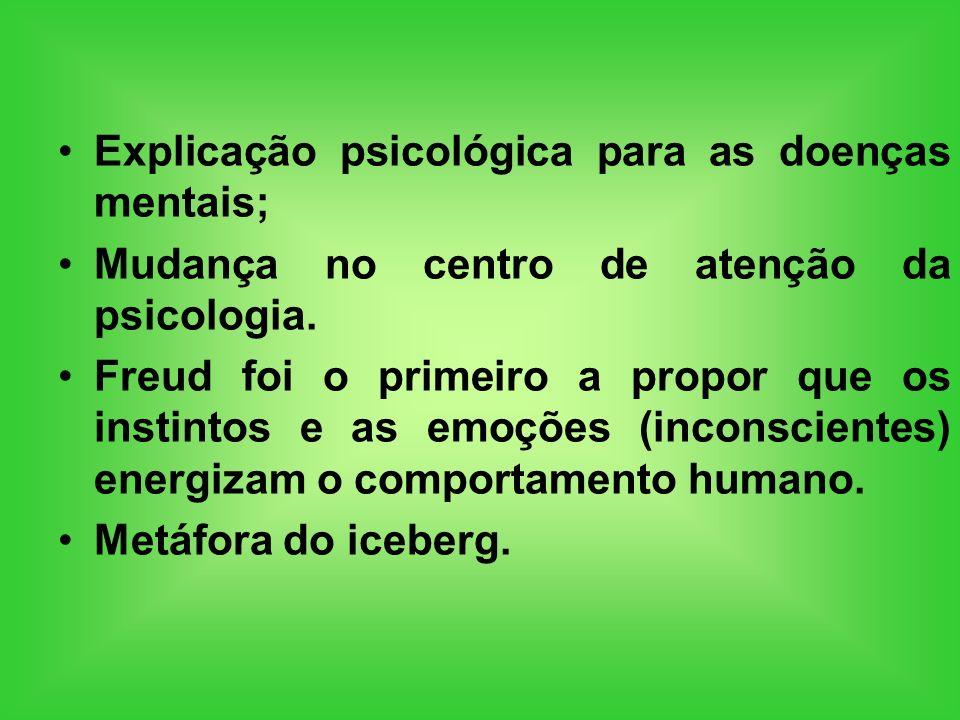 Explicação psicológica para as doenças mentais; Mudança no centro de atenção da psicologia. Freud foi o primeiro a propor que os instintos e as emoçõe