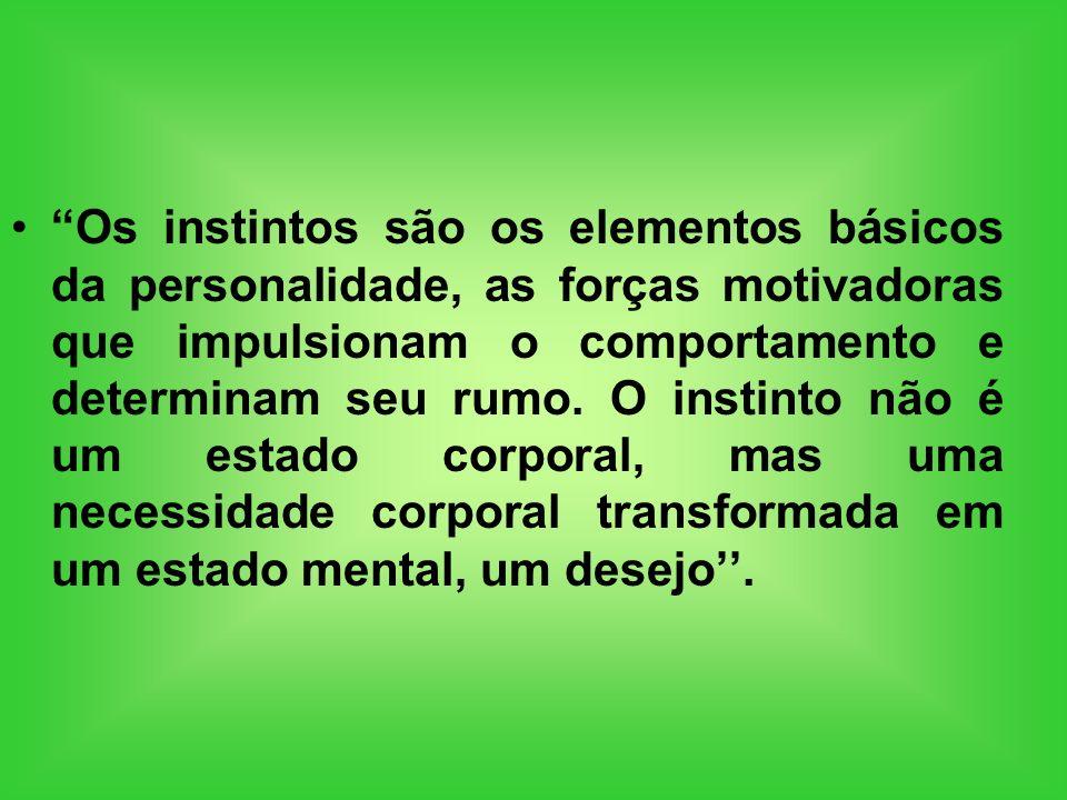 Os instintos são os elementos básicos da personalidade, as forças motivadoras que impulsionam o comportamento e determinam seu rumo. O instinto não é