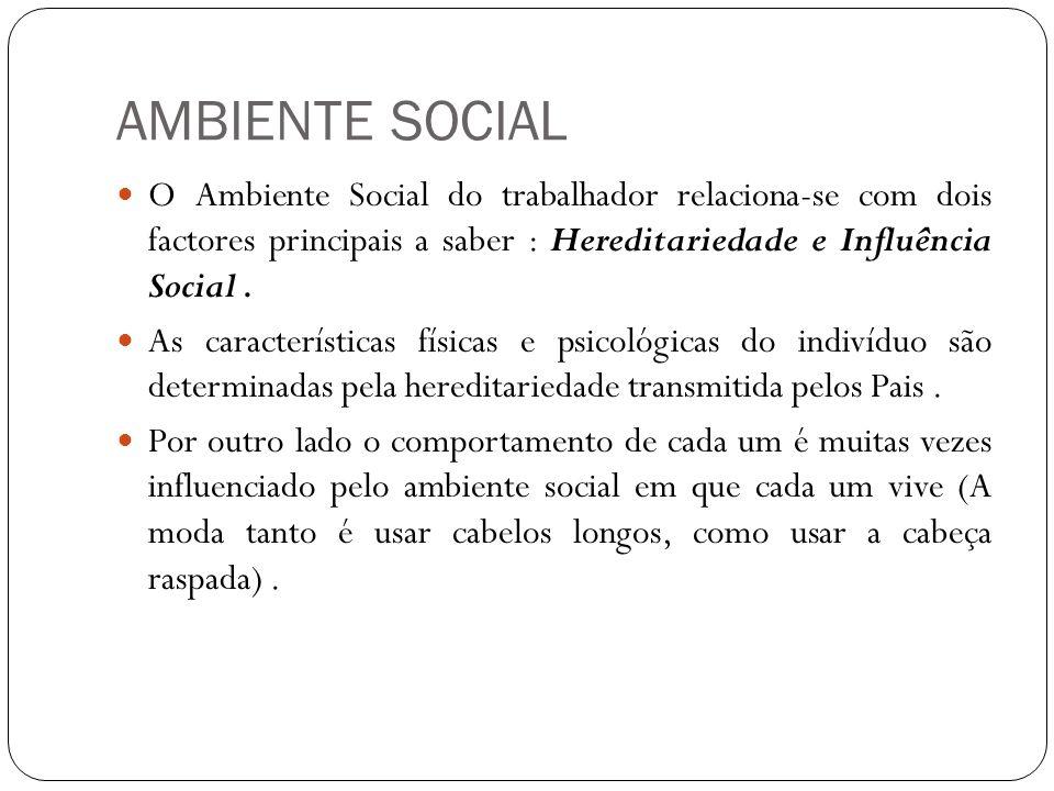 AMBIENTE SOCIAL O Ambiente Social do trabalhador relaciona-se com dois factores principais a saber : Hereditariedade e Influência Social. As caracterí