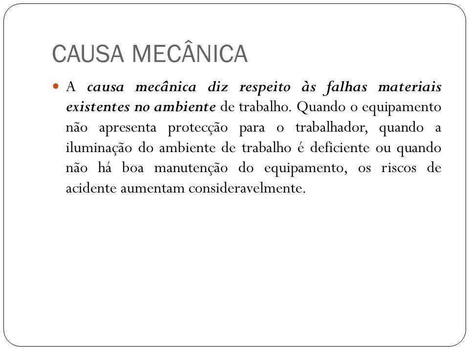 CAUSA MECÂNICA A causa mecânica diz respeito às falhas materiais existentes no ambiente de trabalho. Quando o equipamento não apresenta protecção para