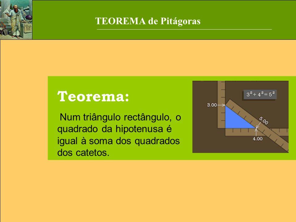 Teorema: Num triângulo rectângulo, o quadrado da hipotenusa é igual à soma dos quadrados dos catetos. TEOREMA de Pitágoras