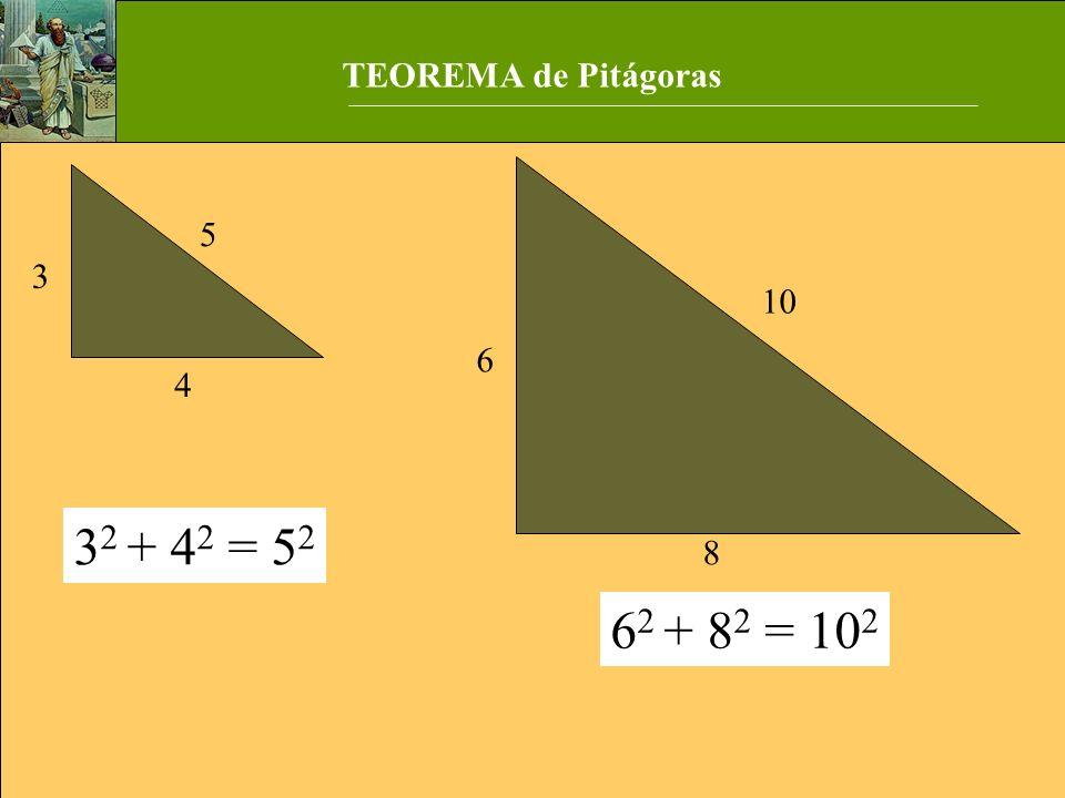 3 2 + 4 2 = 5 2 6 2 + 8 2 = 10 2 3 5 4 8 6 10 TEOREMA de Pitágoras