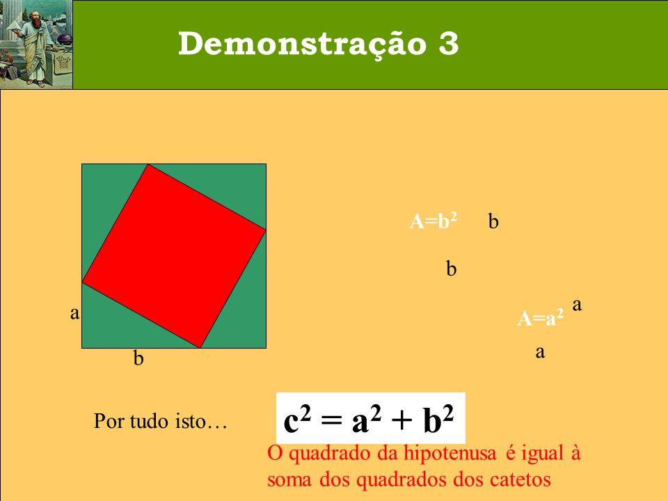 a b c A= c 2 a b a b A=a 2 A=b 2 Por tudo isto… c 2 = a 2 + b 2 O quadrado da hipotenusa é igual à soma dos quadrados dos catetos Demonstração 3