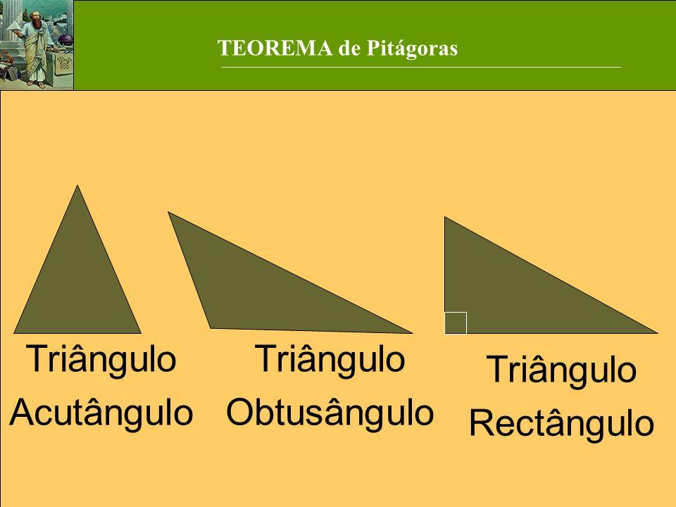 TEOREMA de Pitágoras Triângulo Acutângulo Triângulo Obtusângulo Triângulo Rectângulo