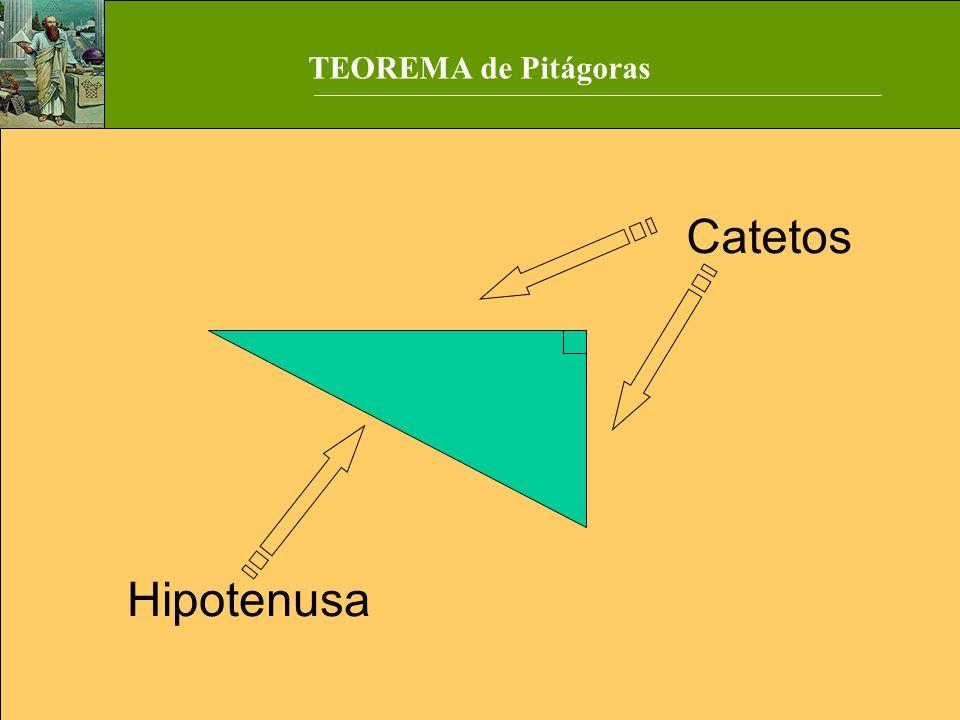 Catetos Hipotenusa TEOREMA de Pitágoras