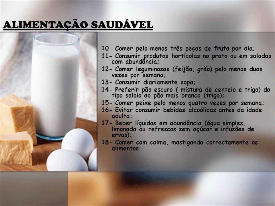 10- Comer pelo menos três peças de fruta por dia; 11- Consumir produtos hortícolas no prato ou em saladas com abundância; 12- Comer leguminosas (feijã