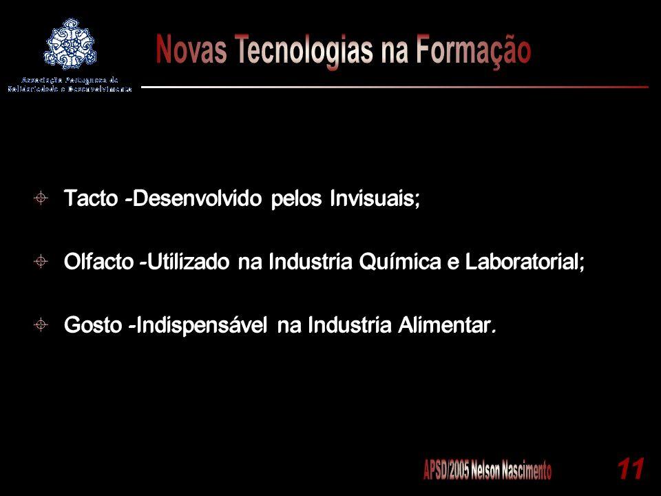 11 Tacto -Desenvolvido pelos Invisuais; Olfacto -Utilizado na Industria Química e Laboratorial; Gosto -Indispensável na Industria Alimentar. Tacto -De