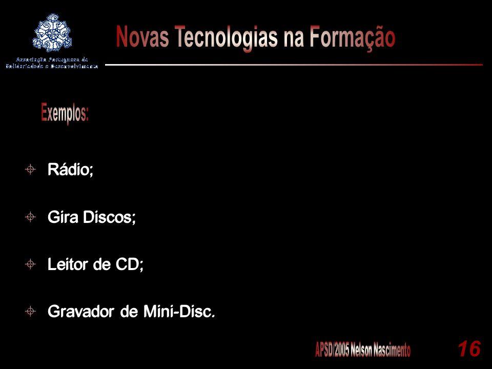 16 Rádio; Gira Discos; Leitor de CD; Gravador de Mini-Disc. Rádio; Gira Discos; Leitor de CD; Gravador de Mini-Disc.