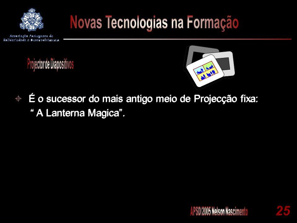 25 É o sucessor do mais antigo meio de Projecção fixa: A Lanterna Magica. É o sucessor do mais antigo meio de Projecção fixa: A Lanterna Magica.