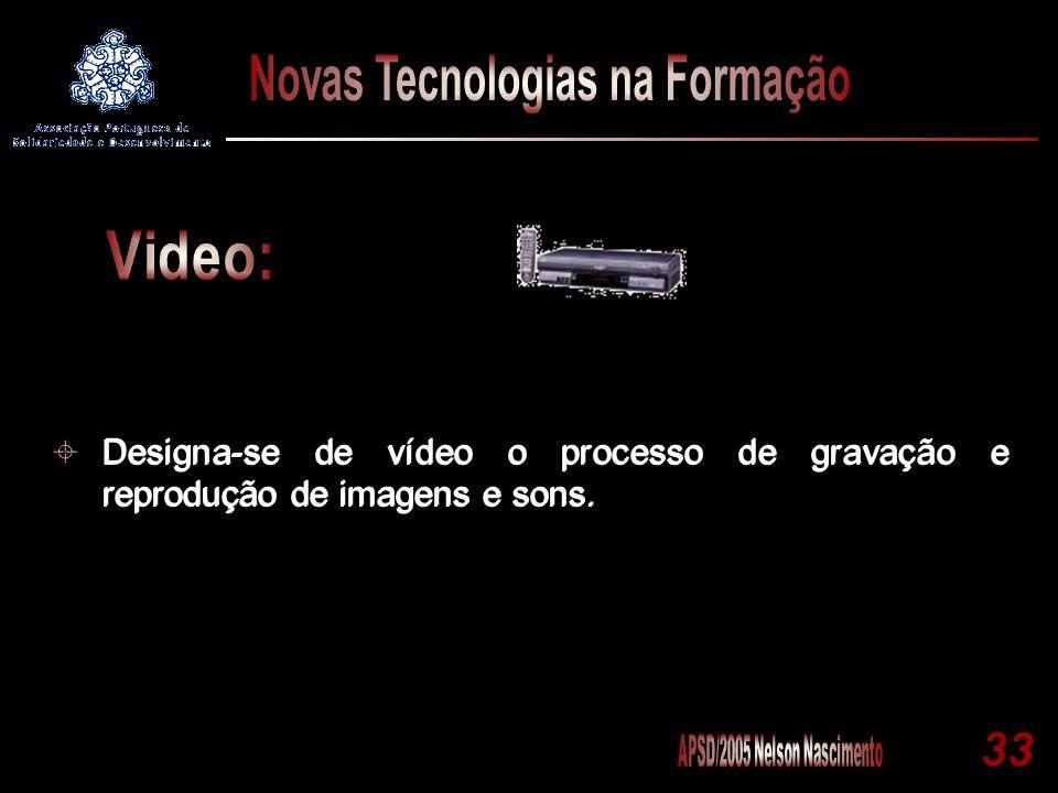33 Designa-se de vídeo o processo de gravação e reprodução de imagens e sons.