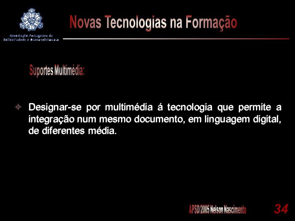 34 Designar-se por multimédia á tecnologia que permite a integração num mesmo documento, em linguagem digital, de diferentes média.