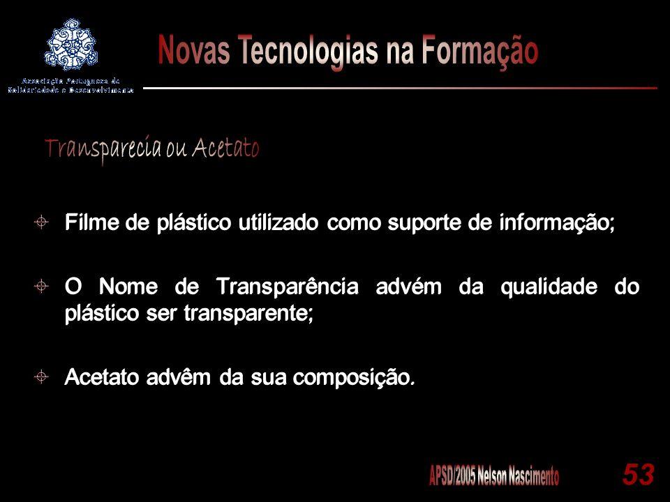 53 Filme de plástico utilizado como suporte de informação; O Nome de Transparência advém da qualidade do plástico ser transparente; Acetato advêm da s