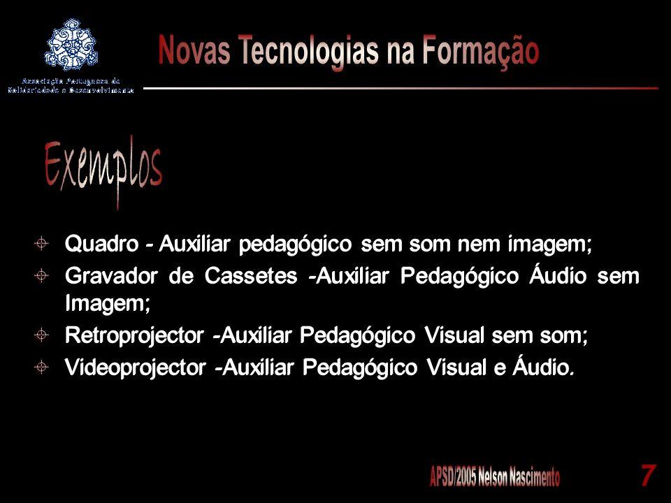 7 Quadro - Auxiliar pedagógico sem som nem imagem; Gravador de Cassetes -Auxiliar Pedagógico Áudio sem Imagem; Retroprojector -Auxiliar Pedagógico Vis