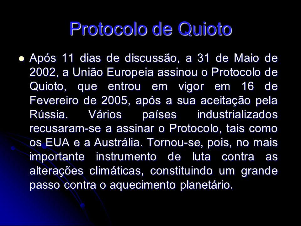 Protocolo de Quioto Após 11 dias de discussão, a 31 de Maio de 2002, a União Europeia assinou o Protocolo de Quioto, que entrou em vigor em 16 de Fevereiro de 2005, após a sua aceitação pela Rússia.