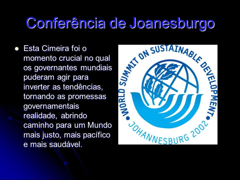 Conferência de Joanesburgo Esta Cimeira foi o momento crucial no qual os governantes mundiais puderam agir para inverter as tendências, tornando as promessas governamentais realidade, abrindo caminho para um Mundo mais justo, mais pacífico e mais saudável.