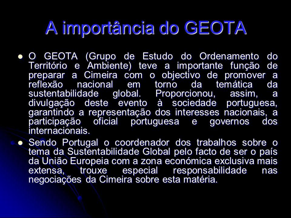 A importância do GEOTA O GEOTA (Grupo de Estudo do Ordenamento do Território e Ambiente) teve a importante função de preparar a Cimeira com o objectivo de promover a reflexão nacional em torno da temática da sustentabilidade global.