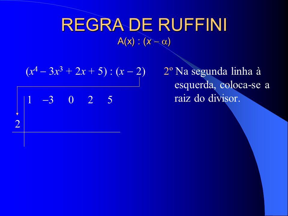 REGRA DE RUFFINI A(x) : (x ) (x 4 3x 3 + 2x + 5) : (x 2) 1º Colocam-se em linha os coeficientes do dividendo, ordenado segundo as potências decrescent