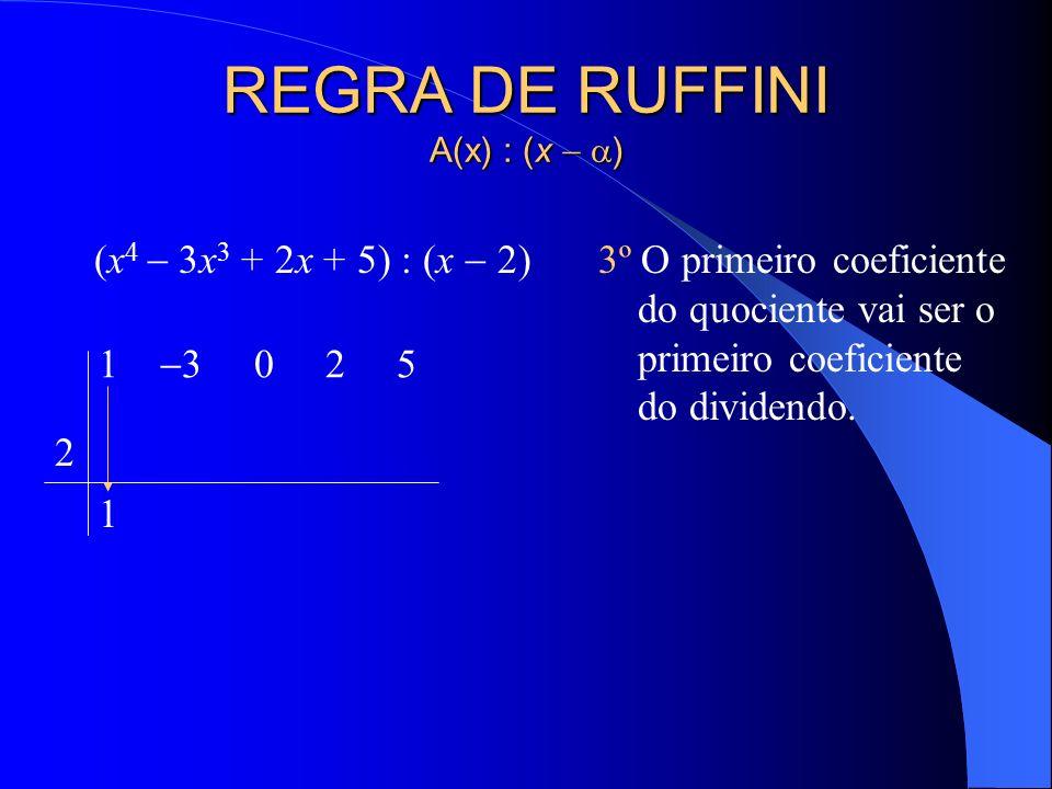 REGRA DE RUFFINI A(x) : (x ) (x 4 3x 3 + 2x + 5) : (x 2) 2º Na segunda linha à esquerda, coloca-se a raiz do divisor. 1 3 0 2 5 2