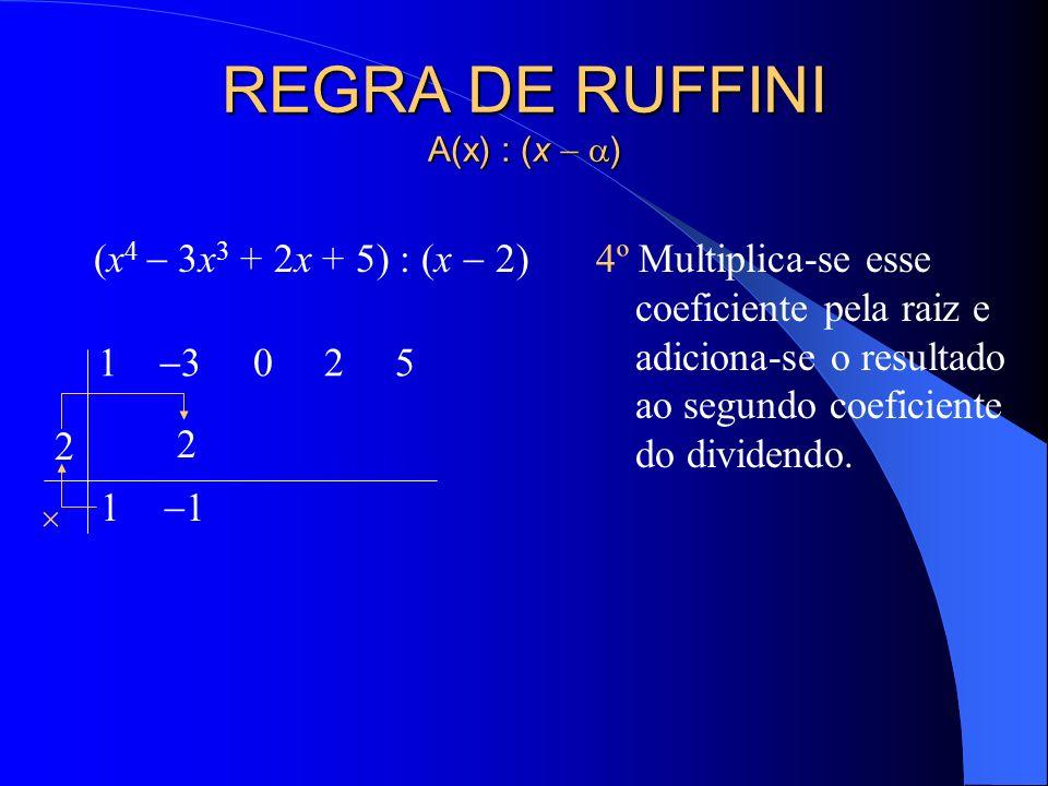 REGRA DE RUFFINI A(x) : (x ) (x 4 3x 3 + 2x + 5) : (x 2) 4º Multiplica-se esse coeficiente pela raiz e adiciona-se o resultado ao segundo coeficiente do dividendo.