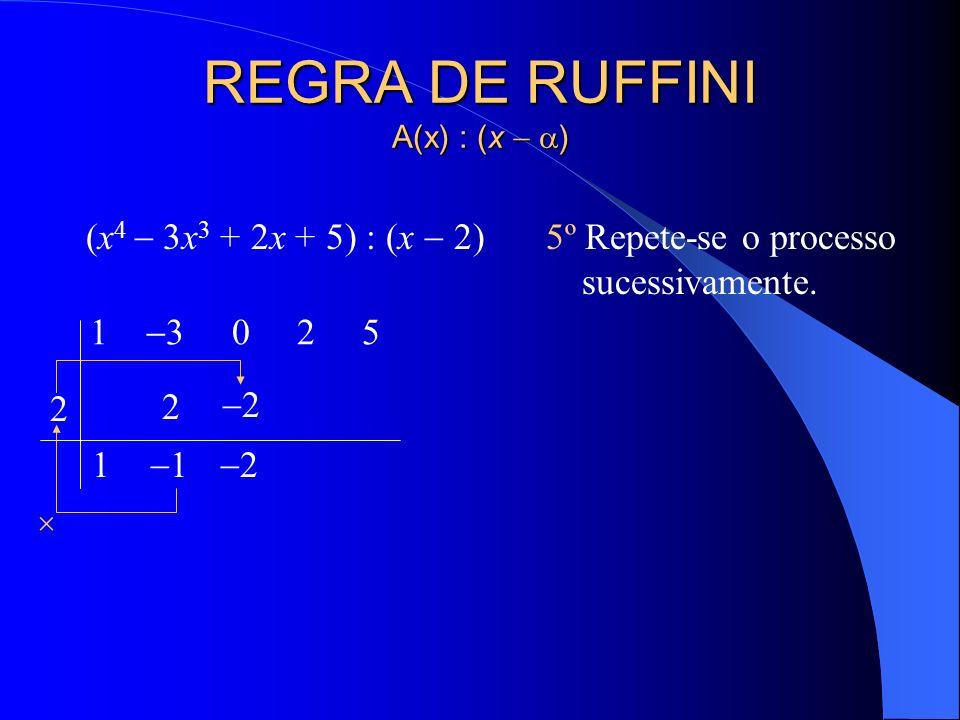REGRA DE RUFFINI A(x) : (x ) (x 4 3x 3 + 2x + 5) : (x 2) 4º Multiplica-se esse coeficiente pela raiz e adiciona-se o resultado ao segundo coeficiente