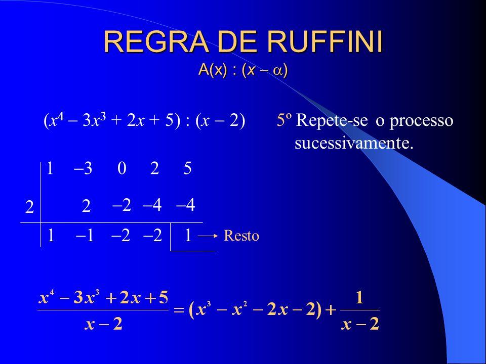 REGRA DE RUFFINI A(x) : (x ) (x 4 3x 3 + 2x + 5) : (x 2) 5º Repete-se o processo sucessivamente. 1 3 0 2 5 2 1 2 1 2 2