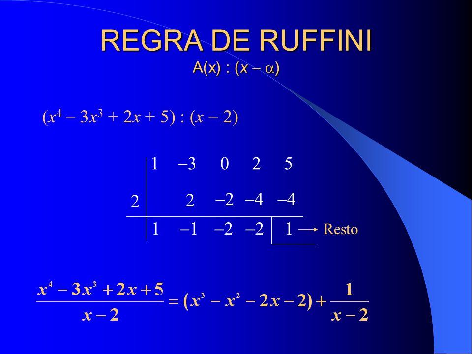 REGRA DE RUFFINI A(x) : (x ) (x 4 3x 3 + 2x + 5) : (x 2) 1 3 0 2 5 2 1 2 1 2 2 4 2 4 1 Resto