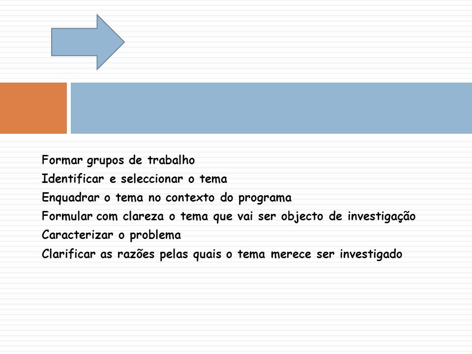 Formar grupos de trabalho Identificar e seleccionar o tema Enquadrar o tema no contexto do programa Formular com clareza o tema que vai ser objecto de investigação Caracterizar o problema Clarificar as razões pelas quais o tema merece ser investigado